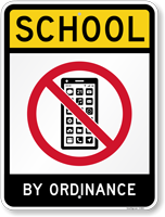 School By Ordinance With No Cell Phone Sign