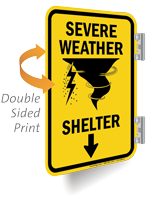 Severe Weather Shelter Ahead Arrow Double Sided Sign