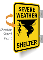 Severe Weather Shelter Double Sided Metal Sign