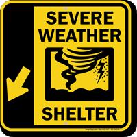 Severe Weather Shelter Down Left Arrow Sign Sku K2 4343 Dl