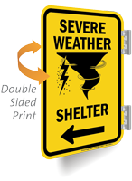 Severe Weather Shelter Left Arrow Double Sided Sign