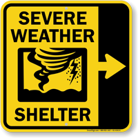 Severe Weather Shelter Right Arrow Sign