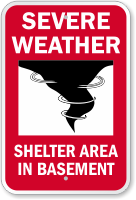 Shelter Area In Basement Severe Weather Sign