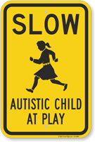 Slow Autistic Child At Play Sign