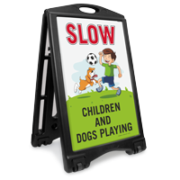 Slow Children and Dog Playing Portable Sidewalk Sign Kit