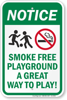 Smoke Free Playground A Great Way To Play Sign