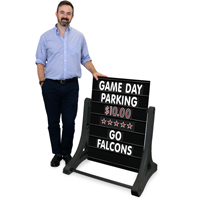 Portable Swinger Changing Message Sidewalk Sign - Black