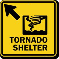 Tornado Shelter Upper Left Arrow Sign