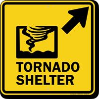 Tornado Shelter Upper Right Arrow Sign