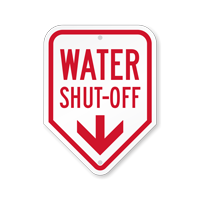 Water Shut-Off With Down Arrow Sign