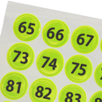 Consecutively Numbered Reflective Stickers 65-128