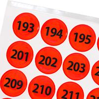 Fluorescent Orange Numbered Reflective Dots 193-256