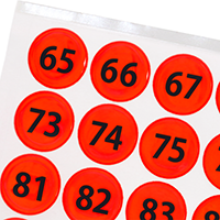 Fluorescent Orange Numbered Reflective Stickers 65-128
