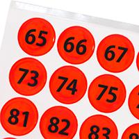 Fluorescent Orange Numbered Reflective Stickers 65-128