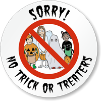 Halloween Sorry No Trick Or Treaters Circular Decal