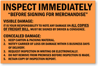 Inspect Immediately, Shipping and Packing Label