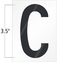3.5 Inch Tall Vinyl Letter C Black On White