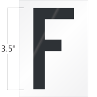3.5 Inch Tall Vinyl Letter F Black On White