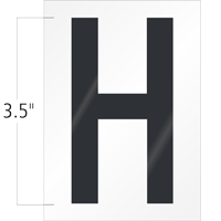 3.5 Inch Tall Vinyl Letter H Black On White