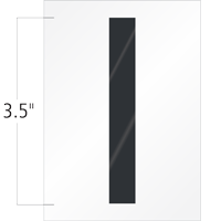 3.5 Inch Tall Vinyl Letter I Black On White