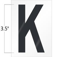 3.5 Inch Tall Vinyl Letter K Black On White