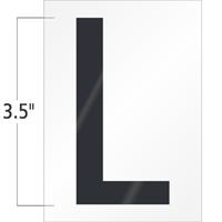 3.5 Inch Tall Vinyl Letter L Black On White
