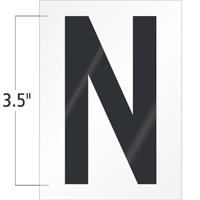 3.5 Inch Tall Vinyl Letter N Black On White