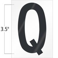 3.5 Inch Tall Vinyl Letter Q Black On White