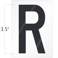 3.5 Inch Tall Vinyl Letter R Black On White