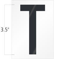 3.5 Inch Tall Vinyl Letter T Black On White