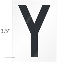3.5 Inch Tall Vinyl Letter Y Black On White