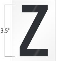 3.5 Inch Tall Vinyl Letter Z Black On White
