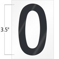 3.5 Inch Tall Vinyl Number 0 Black On White