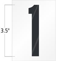 3.5 Inch Tall Vinyl Number 1 Black On White