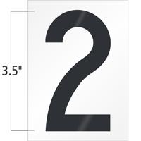 3.5 Inch Tall Vinyl Number 2 Black On White