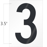 3.5 Inch Tall Vinyl Number 3 Black On White