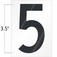 3.5 Inch Tall Vinyl Number 5 Black On White