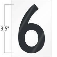 3.5 Inch Tall Vinyl Number 6 Black On White