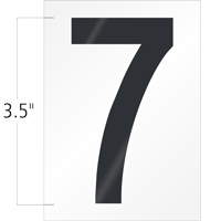 3.5 Inch Tall Vinyl Number 7 Black On White