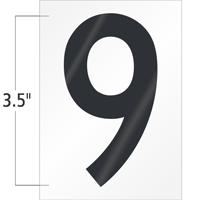 3.5 Inch Tall Vinyl Number 9 Black On White