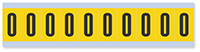"""Mylar 1"""" Numbers and Letters Character Black on yellow O"""