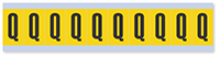 """Mylar 1"""" Numbers and Letters Character Black on yellow Q"""