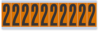 """Mylar 2"""" Numbers and Letters Character black on orange 2"""