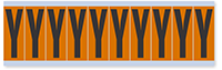 """Mylar 2"""" Numbers and Letters Character black on orange Y"""
