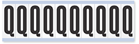 """Mylar 2"""" Numbers and Letters Character Black on white Q"""