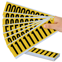 Mylar 2' Numbers and Letters Character Black on yellow 09Kit