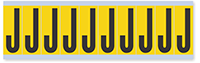 """Mylar 2"""" Numbers and Letters Character Black on yellow J"""