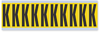 """Mylar 2"""" Numbers and Letters Character Black on yellow K"""