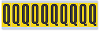 """Mylar 2"""" Numbers and Letters Character Black on yellow Q"""