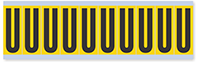 """Mylar 2"""" Numbers and Letters Character Black on yellow U"""